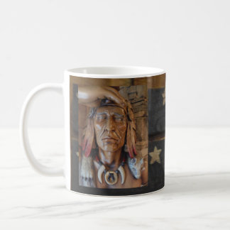 Native American Indian sculpture with fox feathers Basic White Mug