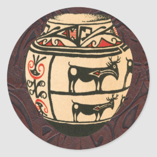 Native American Indian Southwest Antelope Pottery Round Sticker