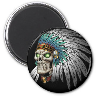 Native American Indian Tribal Gothic Skull 6 Cm Round Magnet