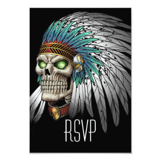 Native American Indian Tribal Gothic Skull 9 Cm X 13 Cm Invitation Card