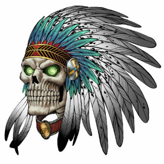 Native American Indian Tribal Gothic Skull Standing Photo Sculpture