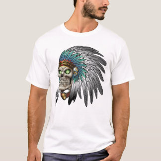 Native American Indian Tribal Gothic Skull T-Shirt