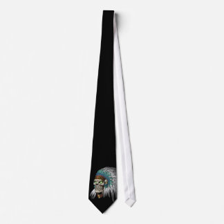 Native American Indian Tribal Gothic Skull Tie