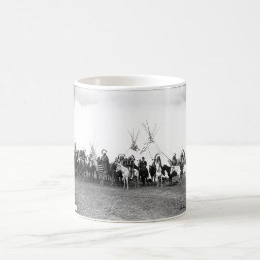 Native American Indian Vintage Portrait Basic White Mug