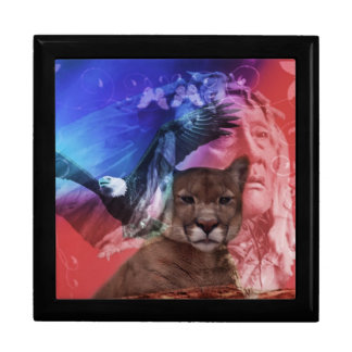 Native American Indian Warrior Large Square Gift Box