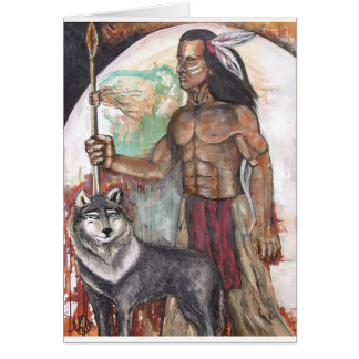 Native American Indian & Wolf Card