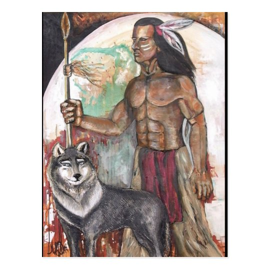 Native American Indian & Wolf Postcard
