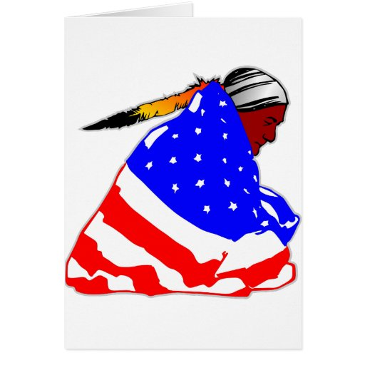 Native American Indian Wrapped In American Flag Greeting Card