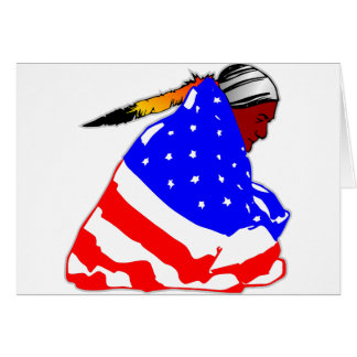 Native American Indian Wrapped In USA Flag Cards