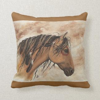Native American Majestic MustangHorse Art byBiHrLe Cushion