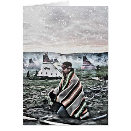 Native American man meditating under first snow Card