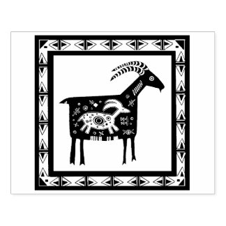 Native American Mountain Mama Ram with Baby Stamp