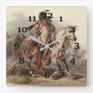 Native American on Howseback Square Wall Clock