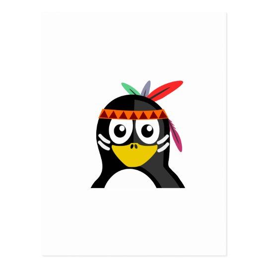 Native American Penguin Postcard