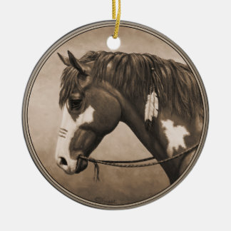 Native American Pinto War Horse in Sepia Round Ceramic Decoration