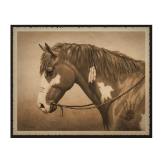 Native American Pinto War Horse in Sepia Wood Print