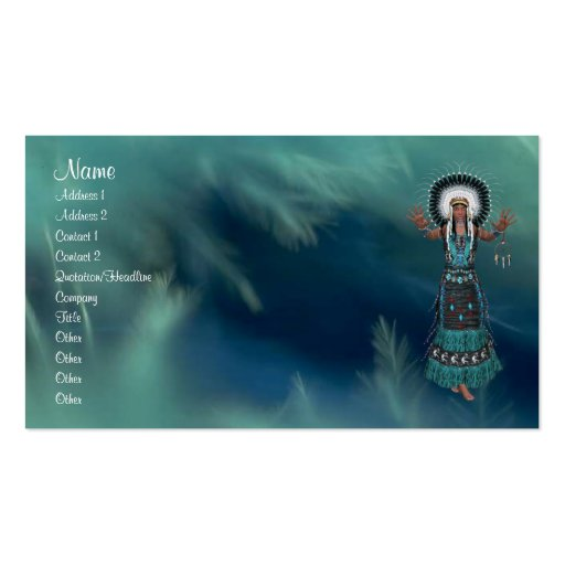 Native American Profile Card Business Cards