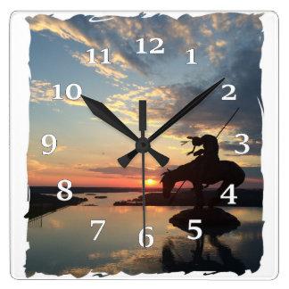 Native American Rider Square Wall Clock