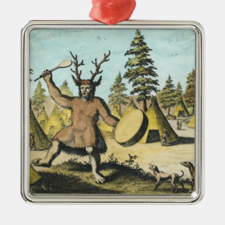 Native American Shaman Silver-Colored Square Decoration