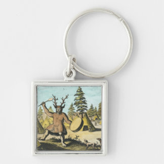 Native American Shaman Silver-Colored Square Key Ring