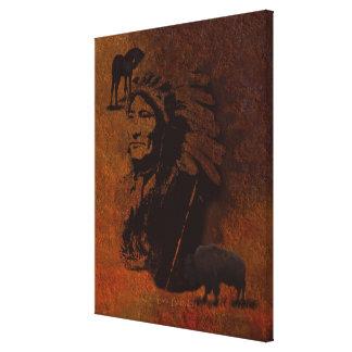 Native American Sioux Chief, Buffalo & Pinto Horse Canvas Prints