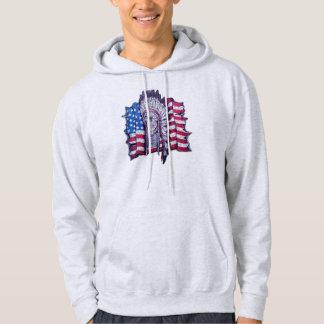 Native American skull and flag Hooded Sweatshirt