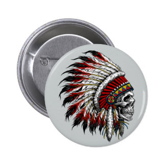 Native American Skull Button