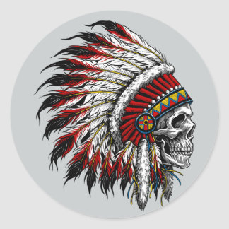 Native American Skull Sticker
