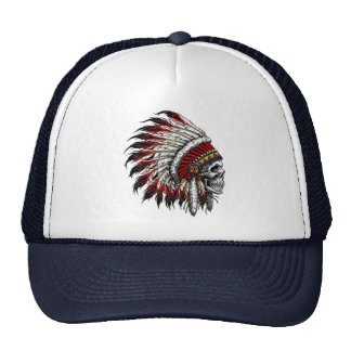 Native American Skull Trucker Hat