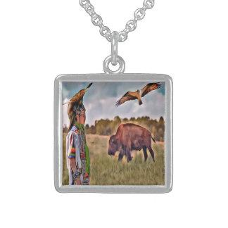 Native American Square Pendant Necklace