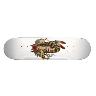 native American squaw smoking a pipe 19.7 Cm Skateboard Deck
