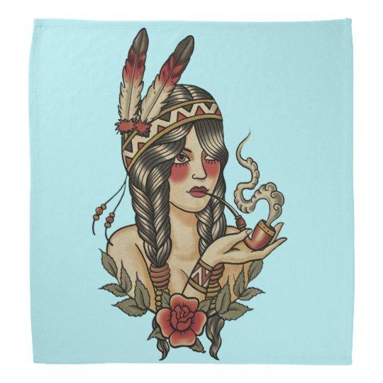 native American squaw smoking a pipe Bandana