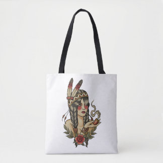 native American squaw smoking a pipe Tote Bag