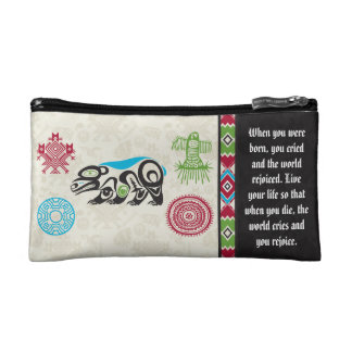 Native American Symbols and Wisdom - Bear Makeup Bag