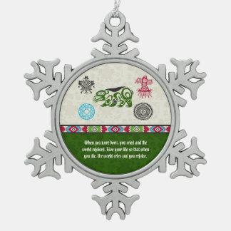 Native American Symbols and Wisdom - Bear Snowflake Pewter Christmas Ornament