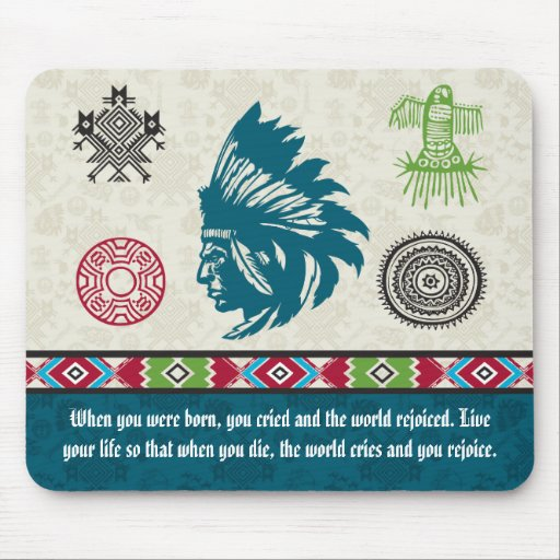 Native American Symbols and Wisdom - Chief Mousepads