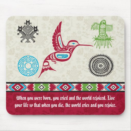 Native American Symbols and Wisdom - Hummingbird Mouse Pad