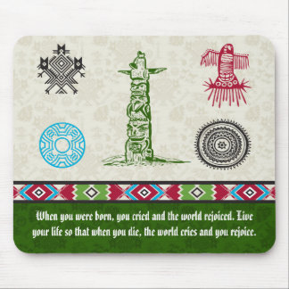 Native American Symbols and Wisdom - Totem Pole Mouse Pad