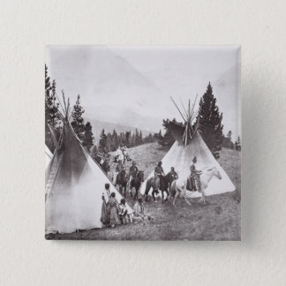 Native American Teepee Camp, Montana, c.1900 (b/w 15 Cm Square Badge