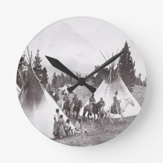 Native American Teepee Camp, Montana, c.1900 (b/w Clock