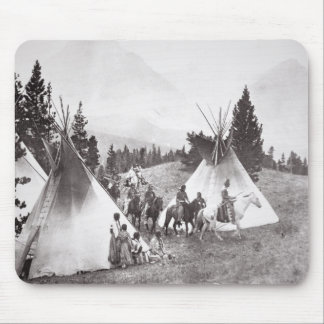 Native American Teepee Camp, Montana, c.1900 (b/w Mouse Mat