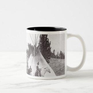 Native American Teepee Camp, Montana, c.1900 (b/w Two-Tone Coffee Mug