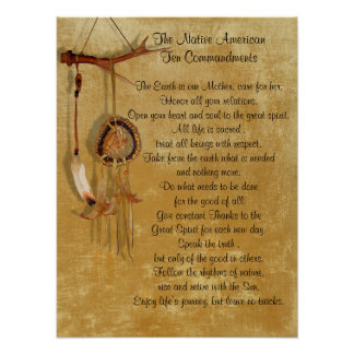 Native American Ten Commandments canvas Poster