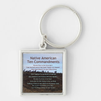 Native American Ten Commandments Silver-Colored Square Key Ring
