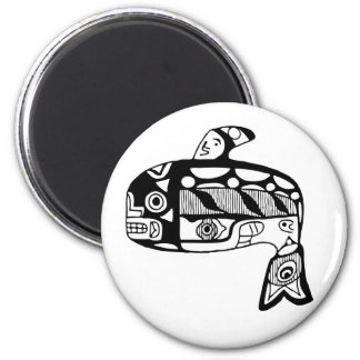 Native American Tlingit Whale 6 Cm Round Magnet