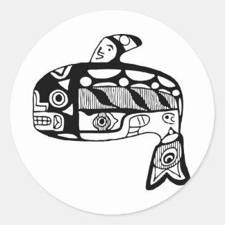 Native American Tlingit Whale Round Sticker