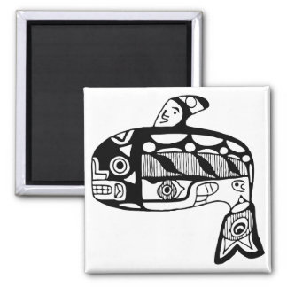 Native American Tlingit Whale Square Magnet