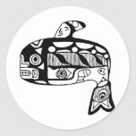 Native American Tlingit Whale Classic Round Sticker