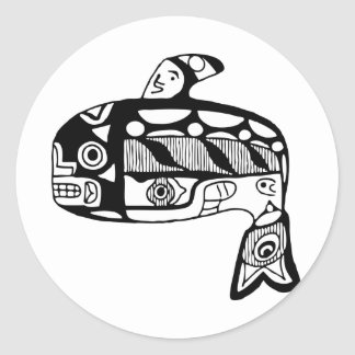 Native American Tlingit Whale Round Sticker