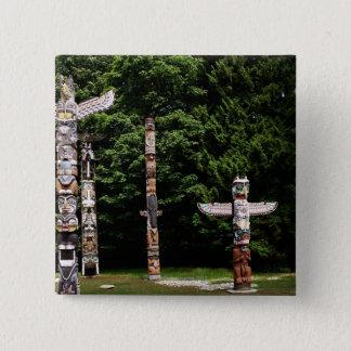 Native American totem poles, Vancouver, British 15 Cm Square Badge